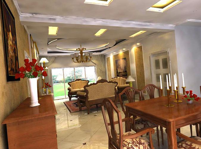 Polished dining room cum living room 3d model max for Dining room 3d model