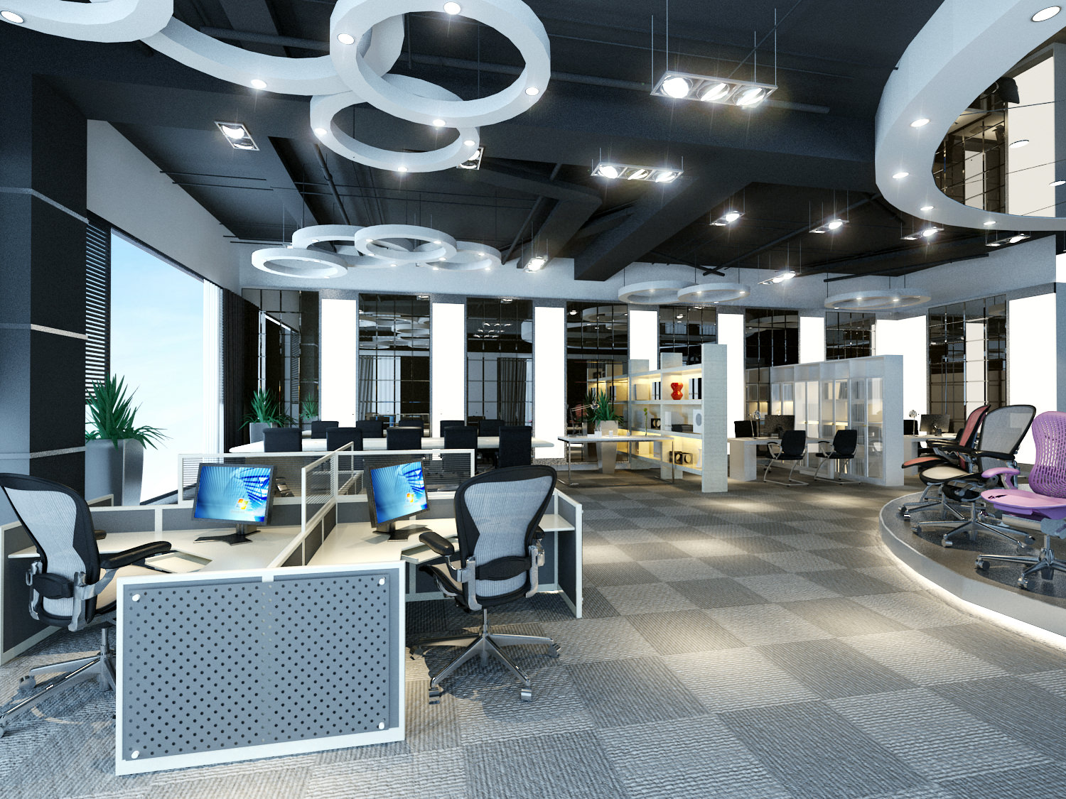 Spacious office with exotic decorations 3d model max for Office design 3d max