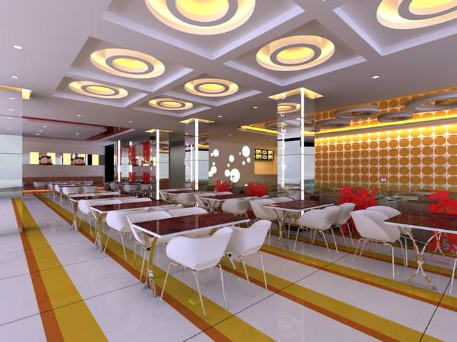 Restaurant with round ceiling lights 3d model cgtrader for Restaurant 3d max