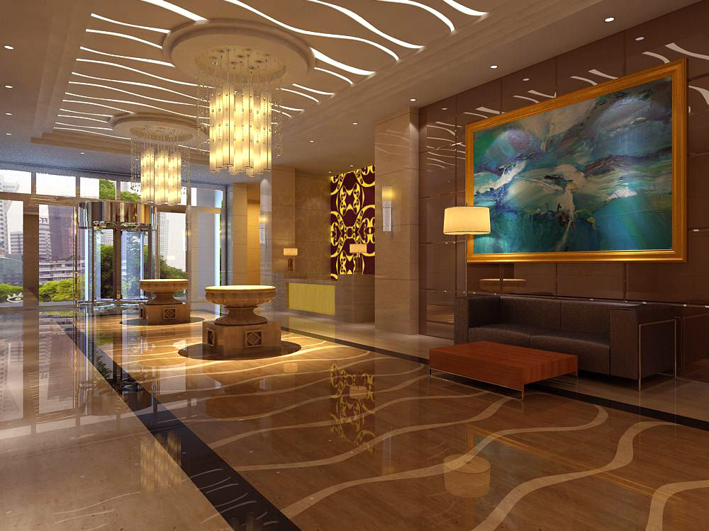 lobby with wall painting and designer walls 3d model max