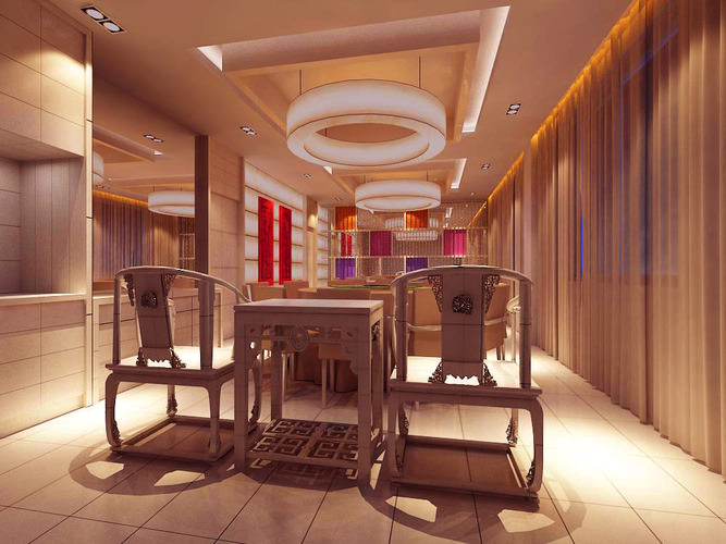 Restaurant with wall and ceiling decoration d model max