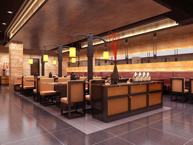 Florid restaurant interior d cgtrader
