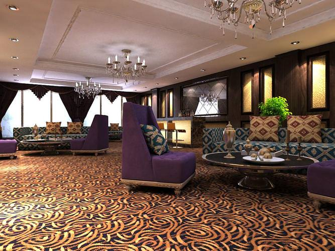Carpeted Antechamber with Exquisite Sofas3D model