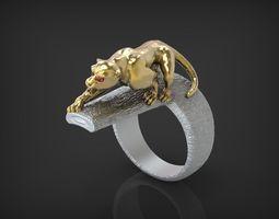 ring wild cat stl 3d print model