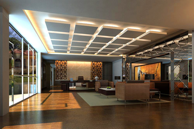 Office With Decorated Ceiling And Wall 3D Model Max