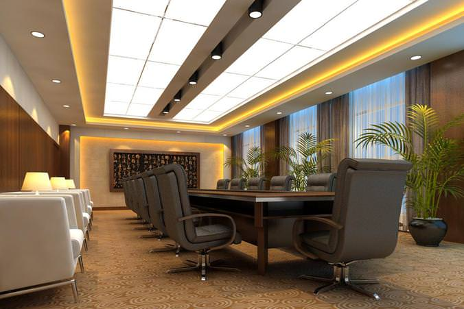 Spacious Decorated Meeting Room3D model