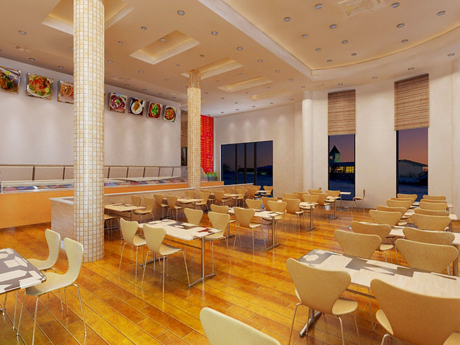 Restaurant space with ceiling decoration d model max