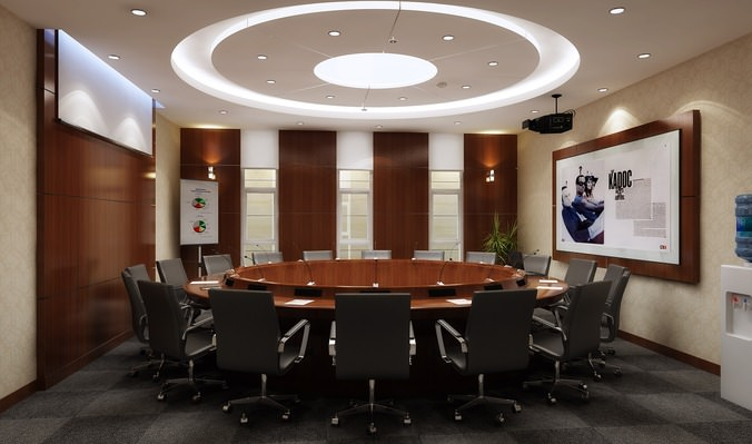Elegant Conference Room with Round Table3D model