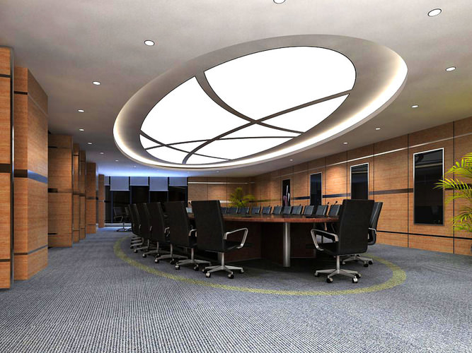 Spacious Carpeted Conference Room3D model