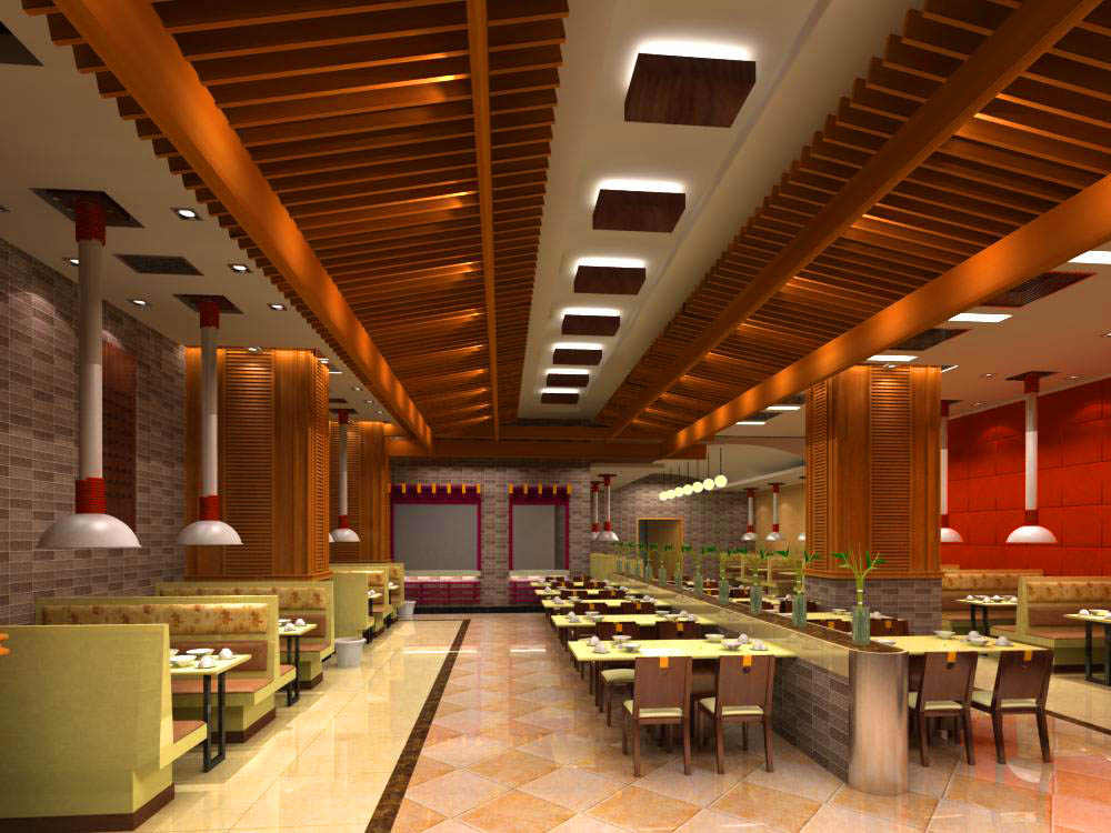 Restaurant with fancy ceiling decoration d model max