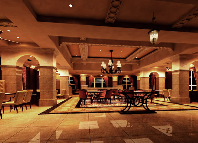 3d restaurant with marble floor cgtrader for Restaurant 3d max