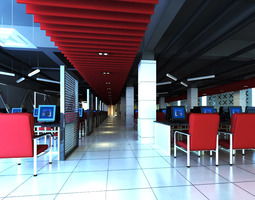 Internet Bar with Decorative Ceiling 3D Model