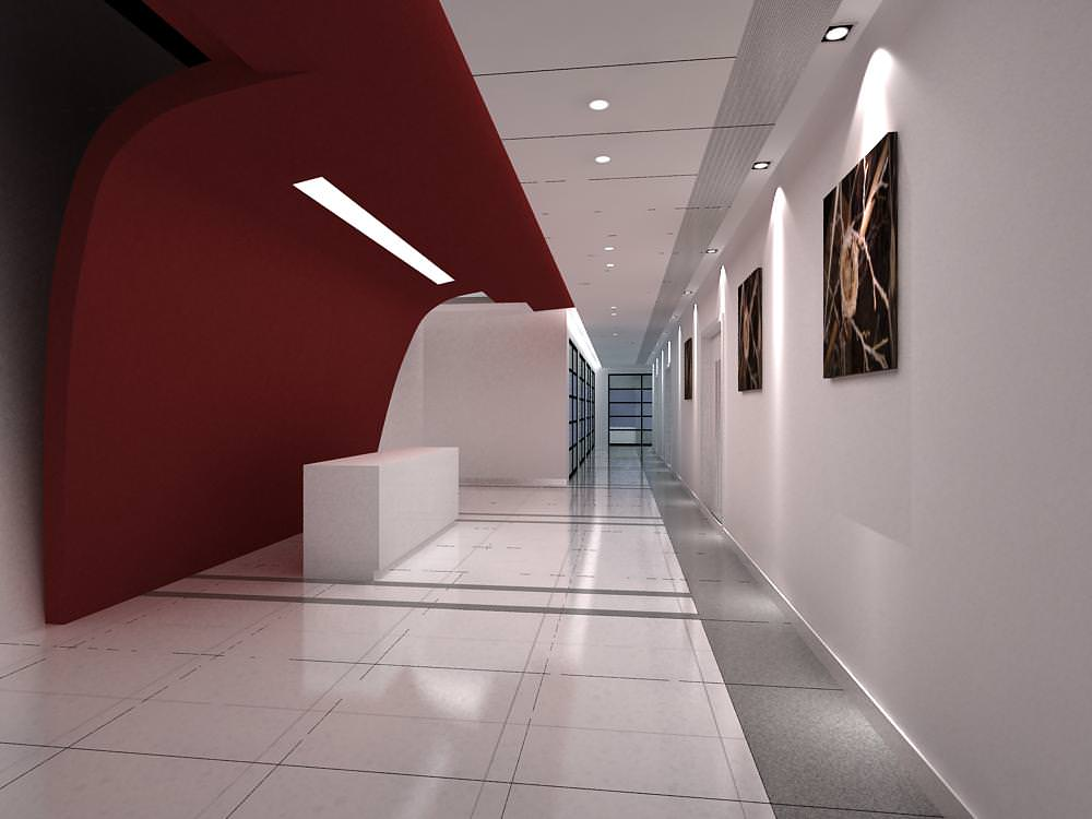 Corridor with canvas paintings on the wall 3d model max - Schilderij model corridor ...