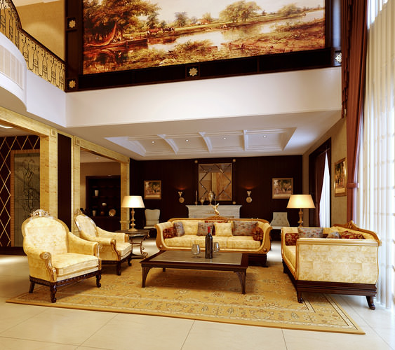 Painting Interior Design Living Room: Drawing Room With Large Wall Painting 3D