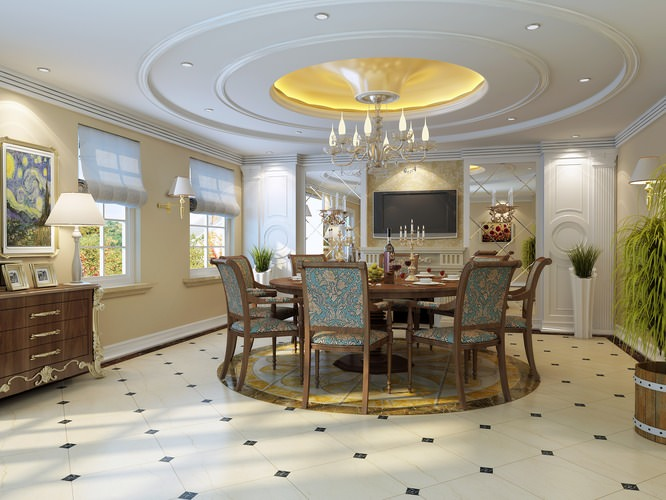 Dining Room with Fancy Ceiling and Chandelier3D model