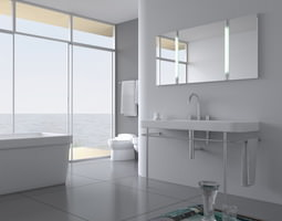 Restroom with Bright Walls 3D model