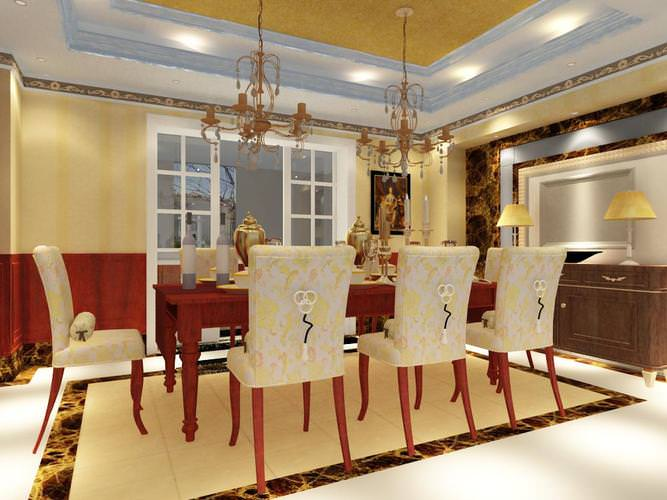 Dining room with designer table and chairs 3d model max for Dining room table 3ds max