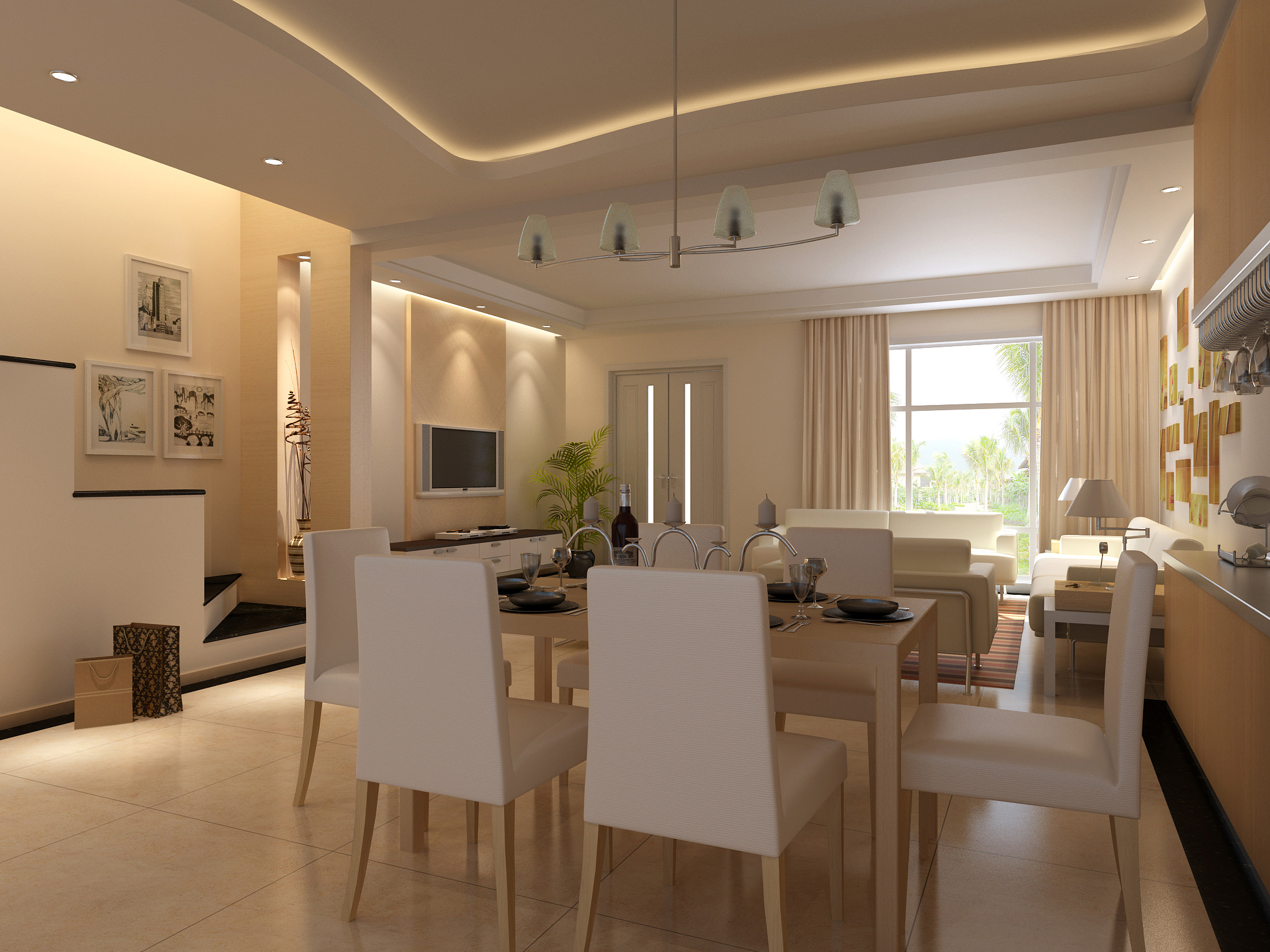 Living Room 3d Model elegant dining cum living room 3d | cgtrader