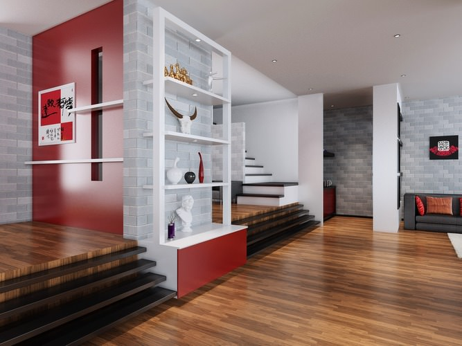 3D Drawing Room With Red Designer Walls | Cgtrader