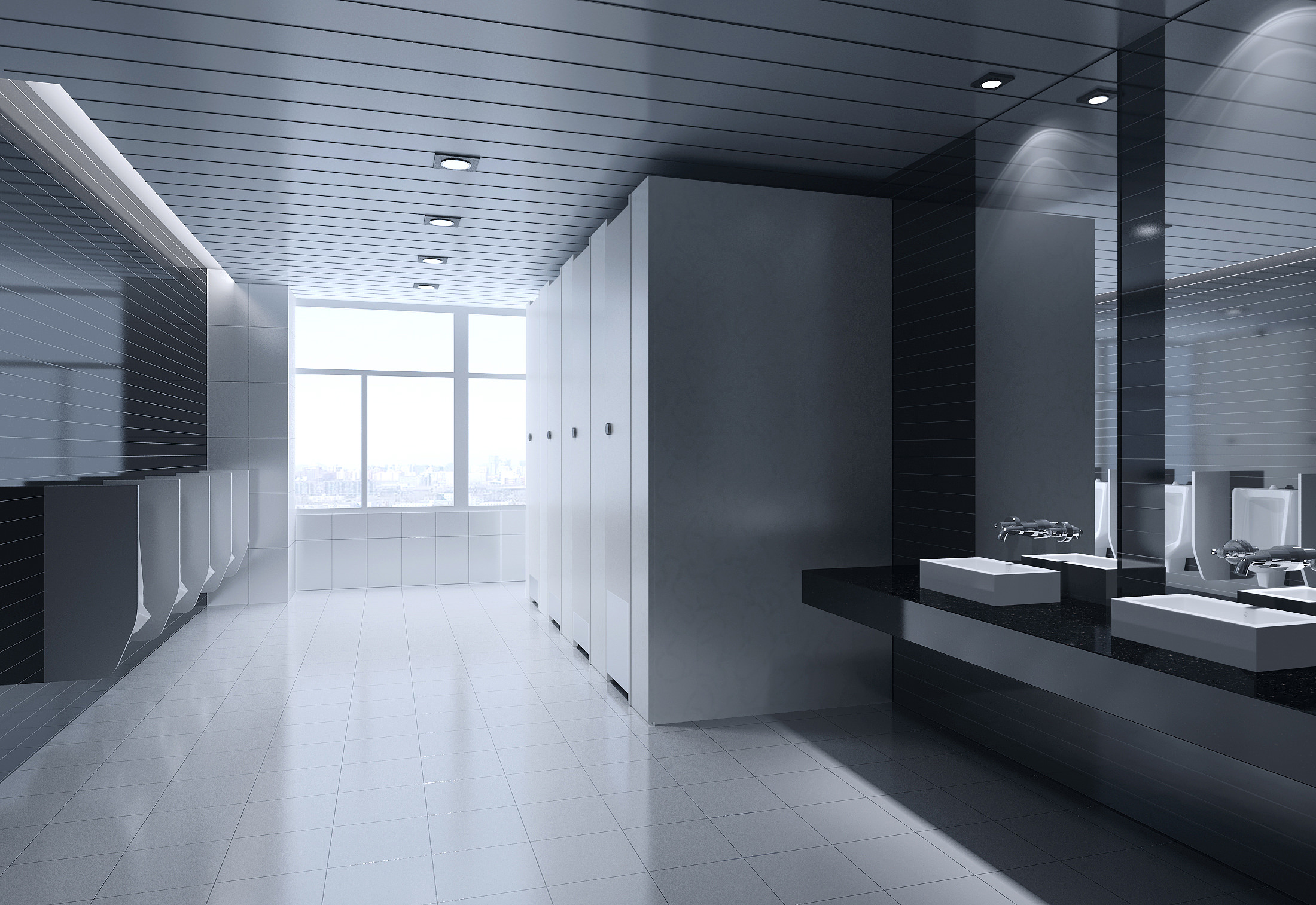 Public Toilet With Black Wall And Ceiling 3d Model Max