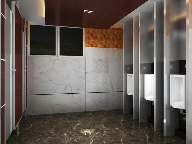 public toilet with marble floor 3d model max 1