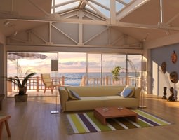 3d model drawing room with beach view