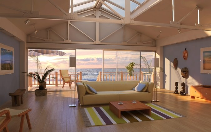 Drawing room with beach view 3d model max for Living room 3d view