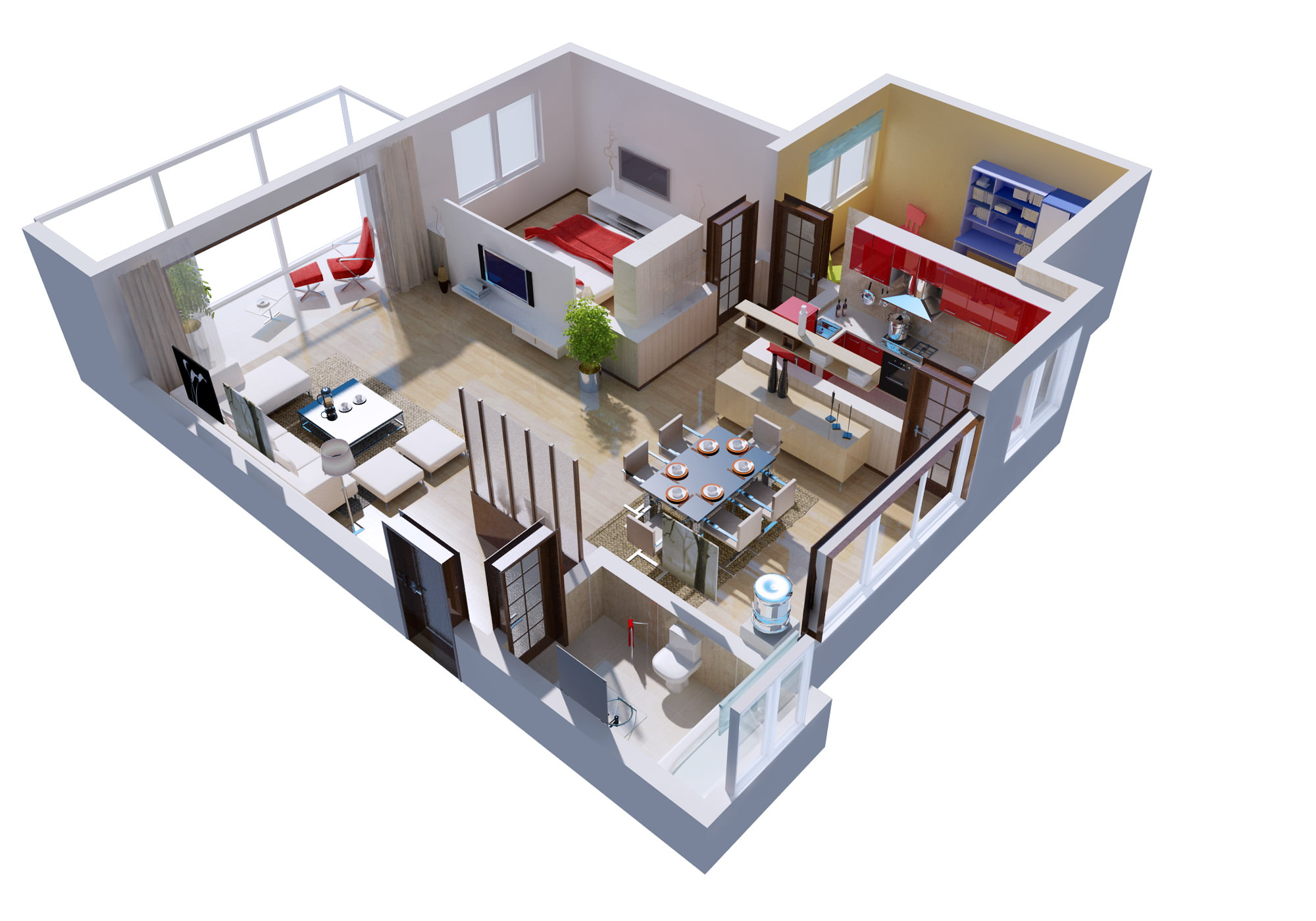 3d Models Cutaway House Detailed House Cutaway 3d Model