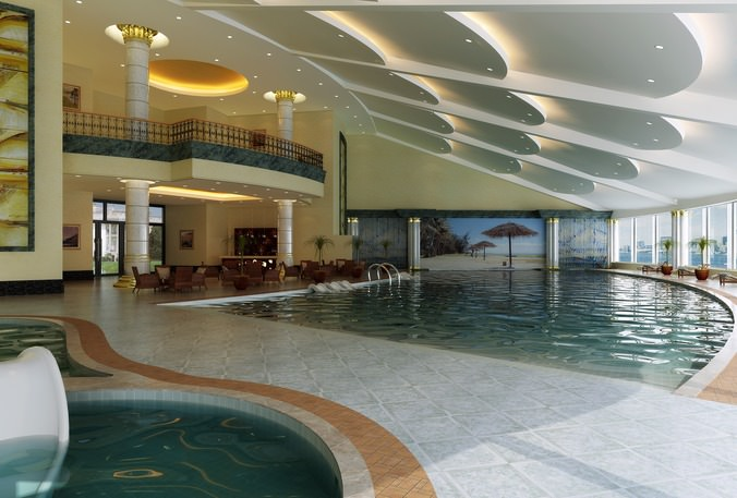 Swimming Pool Cum Lobby With Fancy Ceiling 3d Model Max