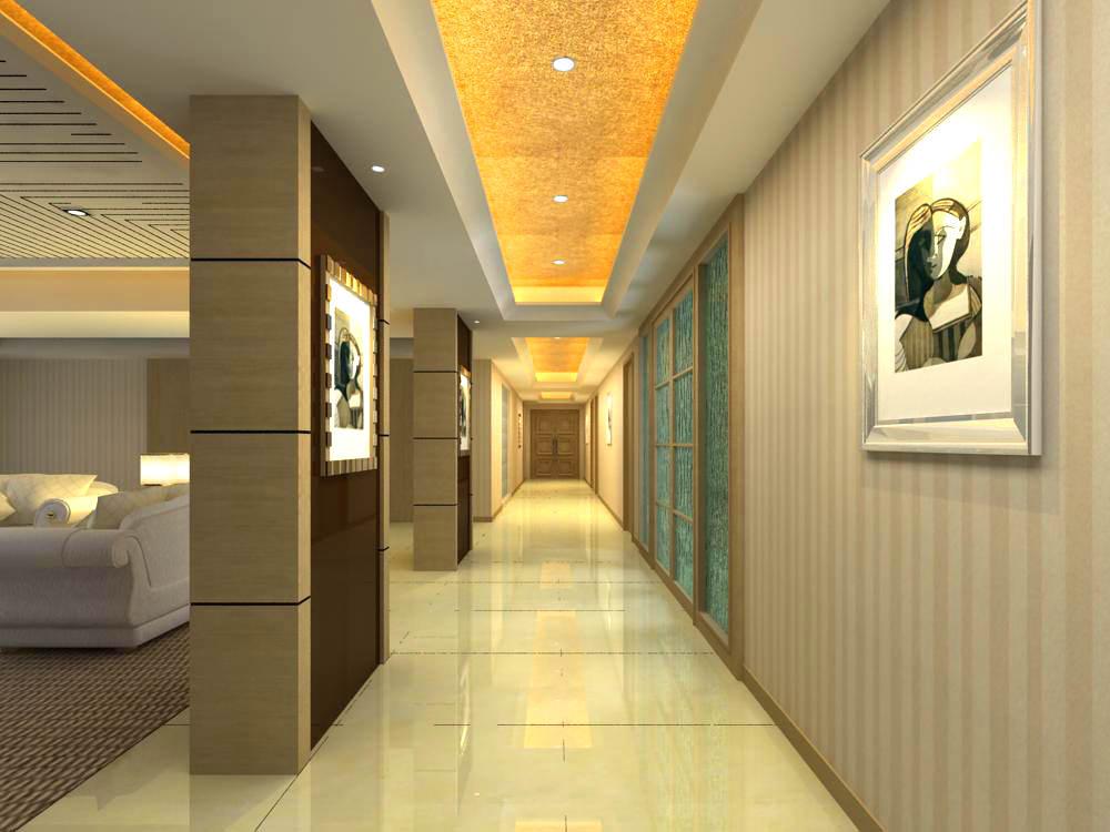 Corridor with fancy ceiling 3d model max - Schilderij model corridor ...