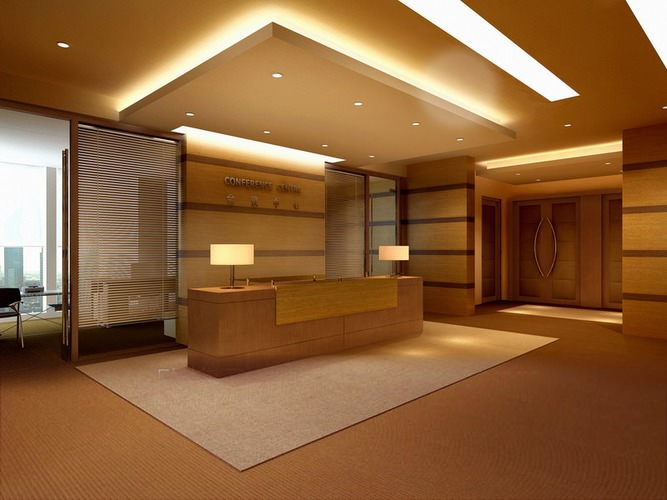 reception hall with false ceiling 3d model max 1