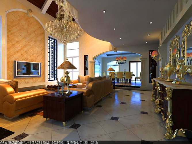 Drawing Room with Decorated Ceiling3D model