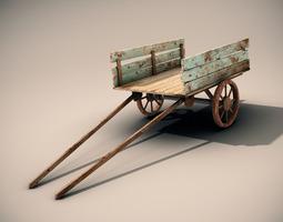 mule cart 3d model low-poly max obj fbx lwo lw lws ma mb