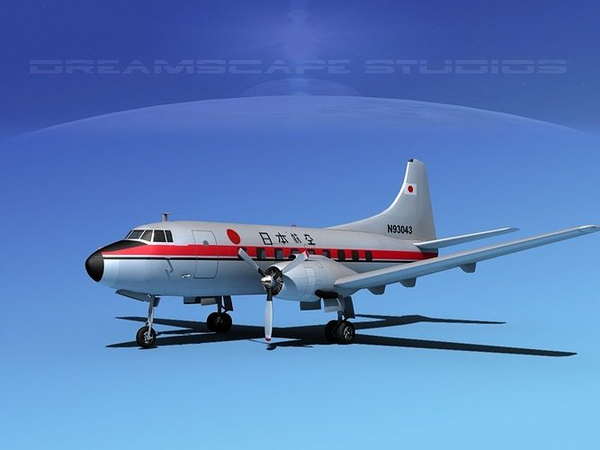 martin 202 japan airlines 3d model max obj 3ds lwo lw lws dxf stl 1