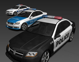 3d model generic police cars low-poly