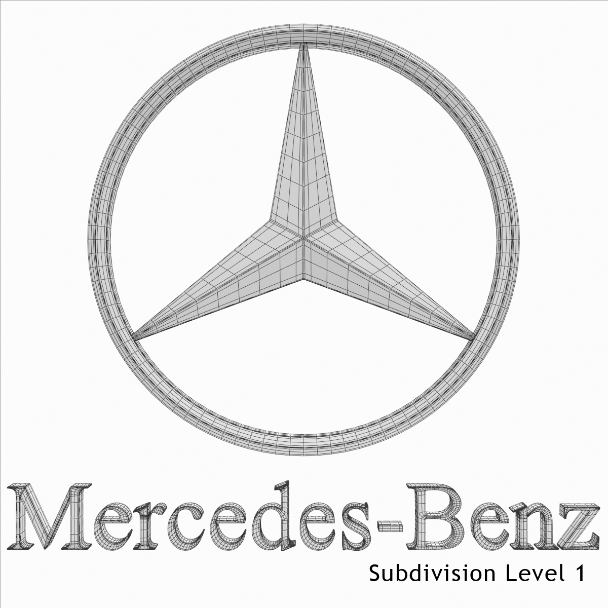 Mercedes-Benz Logo 3D Model .max .obj .3ds .fbx .dxf .stl