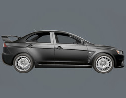 low-poly Games 3d model Mitsubishi Lancer Evo 10