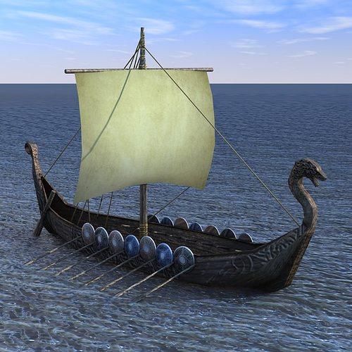 viking ship  3d model low-poly max obj mtl 3ds fbx c4d 1