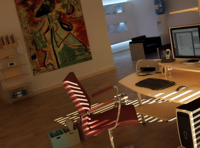 Personal Office Room With Wall Painting 3D Model