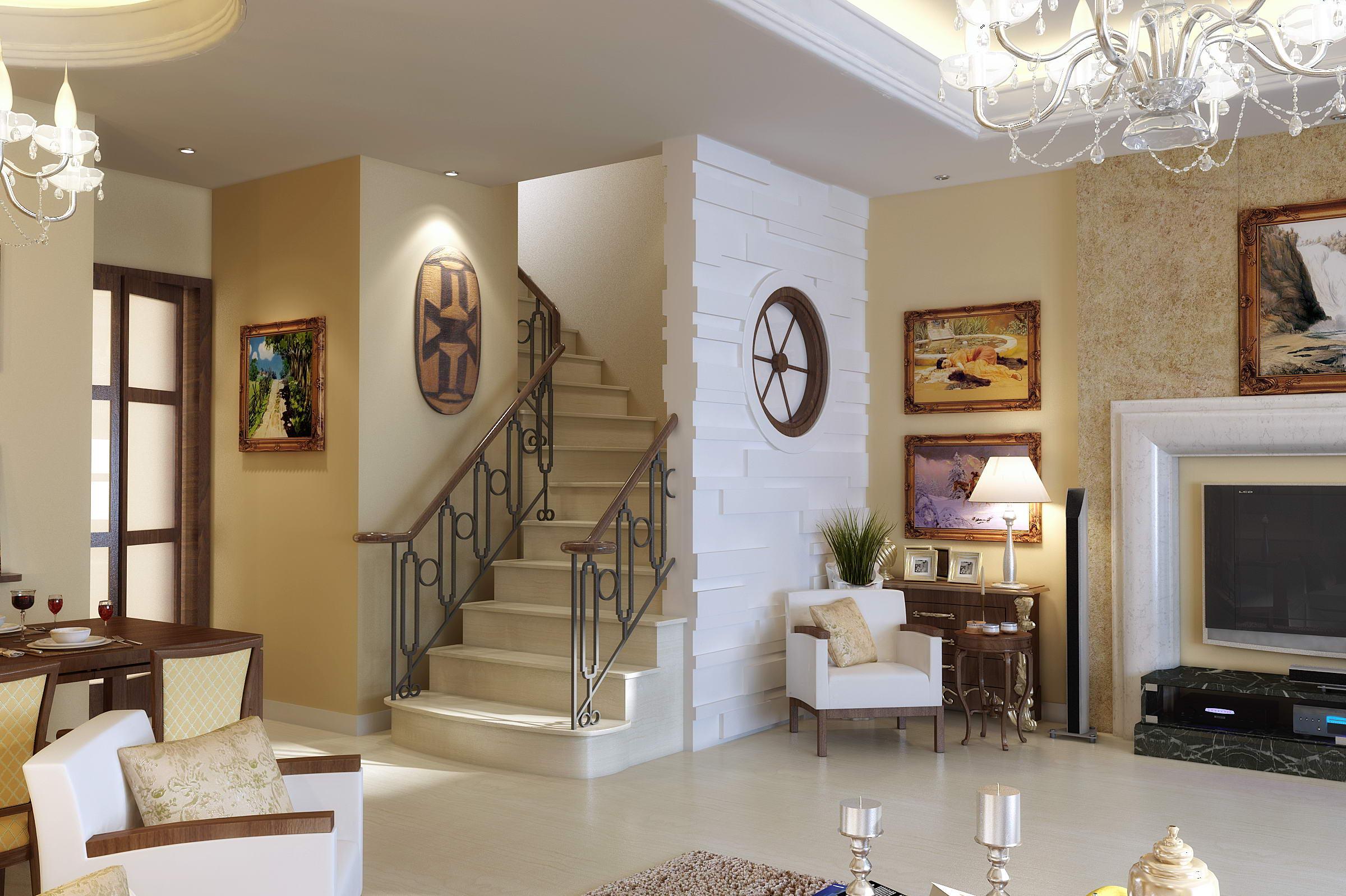 Интерьер гостиных с лестницей