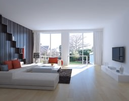 3D model Drawing Room with Wall Decor and TV
