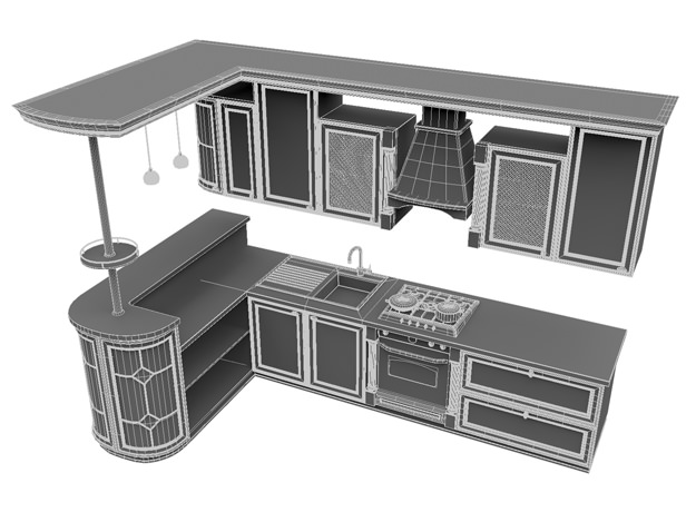 Kitchen set 3d model max obj fbx for Model model kitchen set