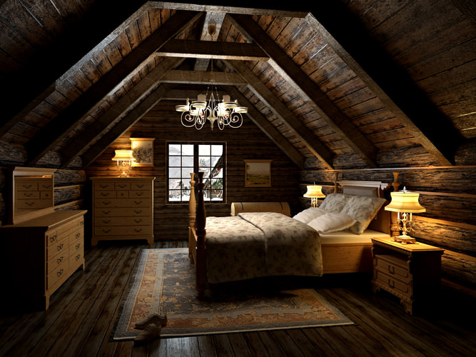 Bedroom in the attic 3d model max - Setting up an attic apartment ...