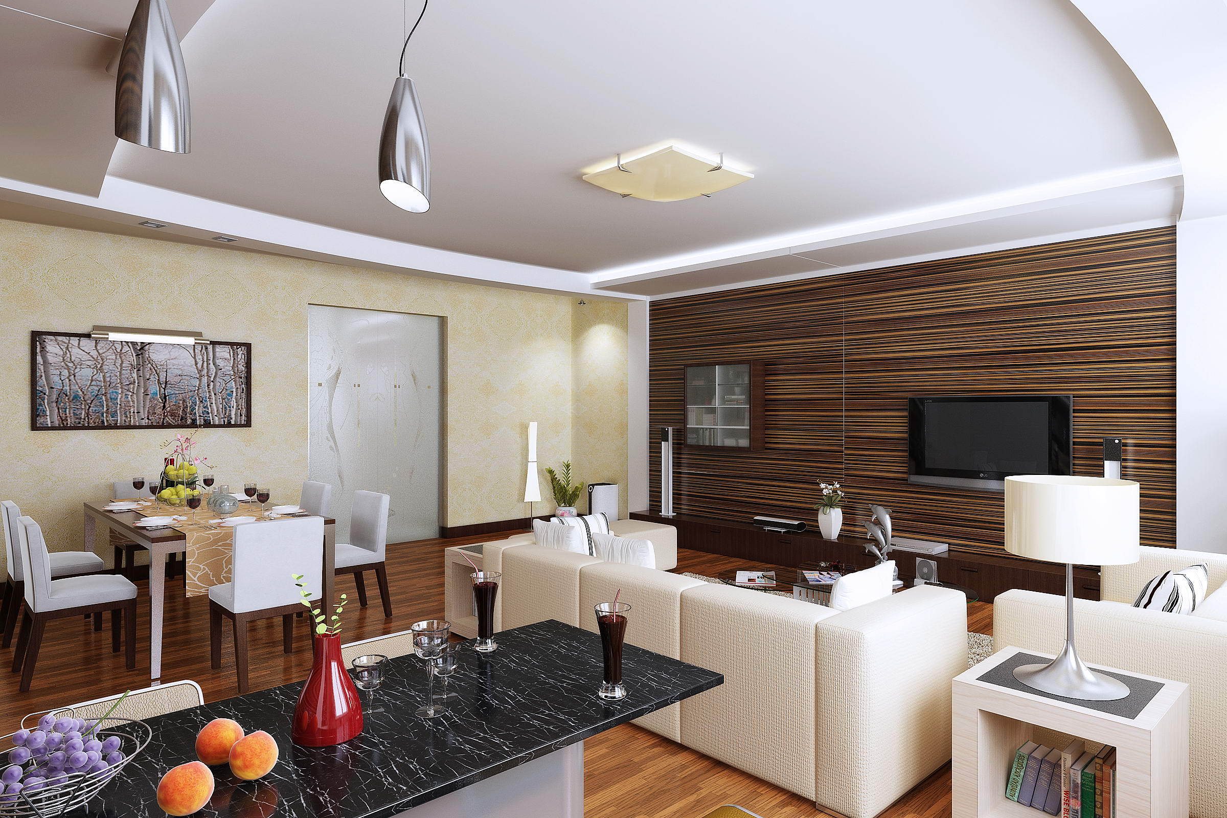 living room with designer floor and wall 3d model max