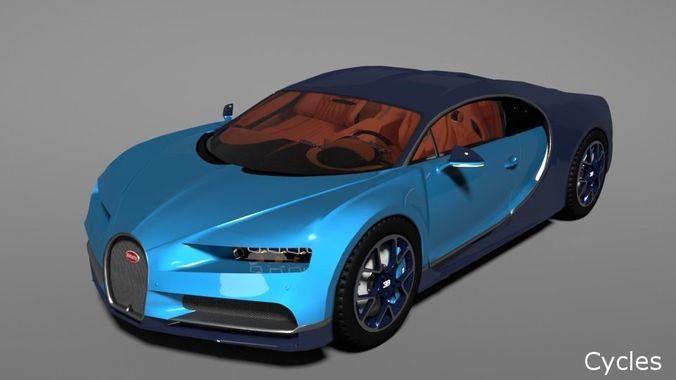 bugatti chiron 2017 3d model rigged obj mtl fbx blend 1