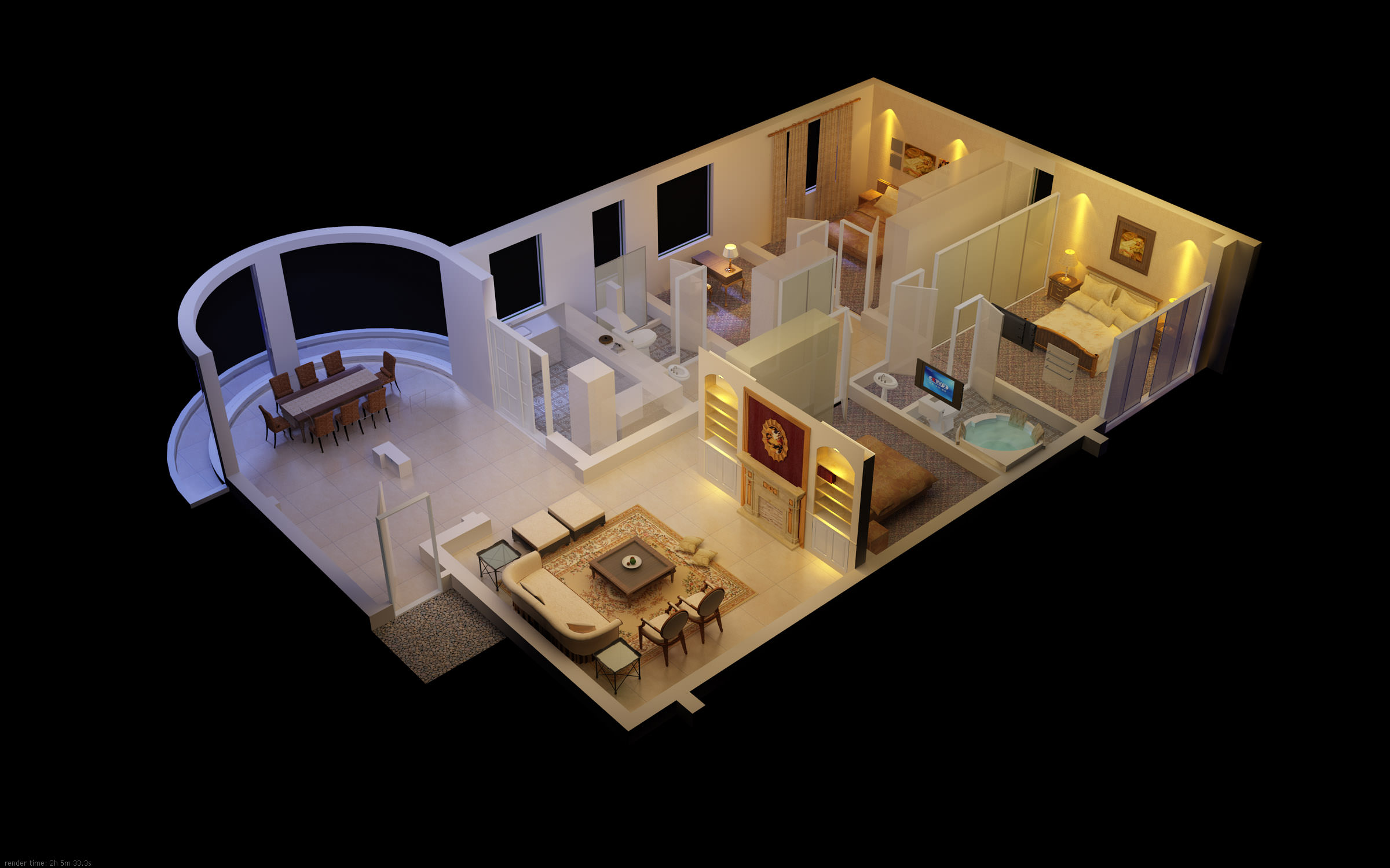 Luxurious house with designer interior 3d model max for Luxury household items
