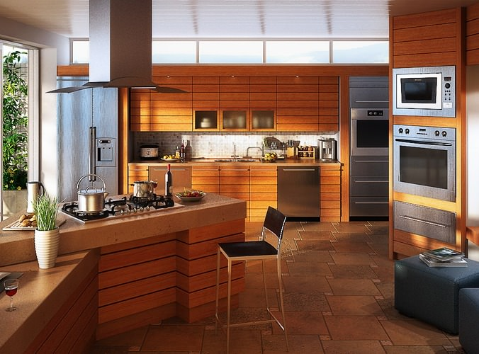 Kitchen with Built-in Microwave Oven3D model