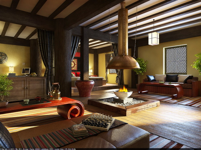 Living Room with Furnished Ceiling and Wall3D model