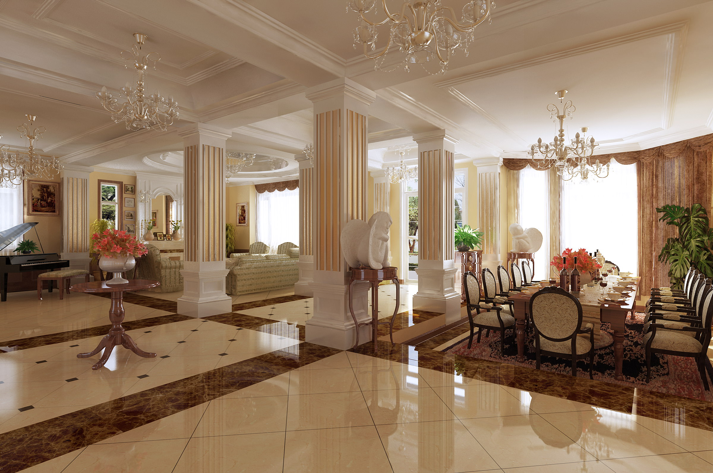 Living Cum Dining Room With Fancy Interior 3d Model Max 2