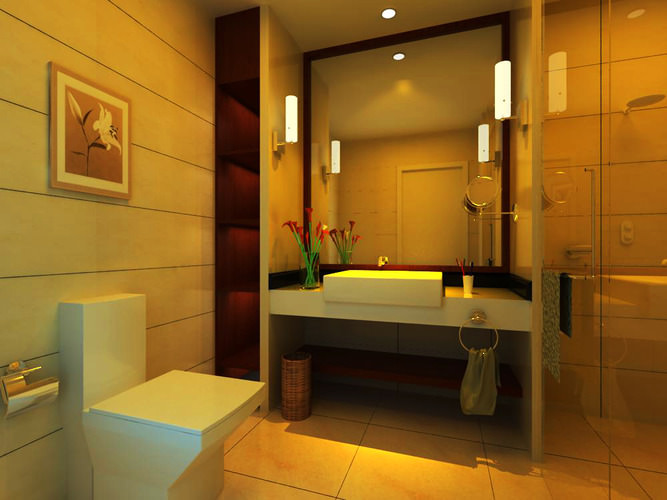 Posh guest bathroom 3d model max for Bathroom design 3d model